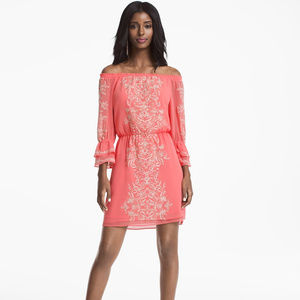 WHBM Off the Shoulder Embroidered Dress ~ A426